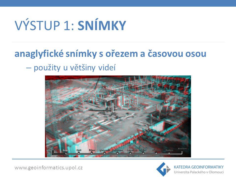 www.geoinformatics.upol.cz VÝSTUP 1: SNÍMKY anaglyfické snímky s ořezem a časovou osou – použity u většiny videí