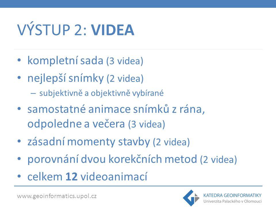 www.geoinformatics.upol.cz VÝSTUP 2: VIDEA kompletní sada (3 videa) nejlepší snímky (2 videa) – subjektivně a objektivně vybírané samostatné animace s