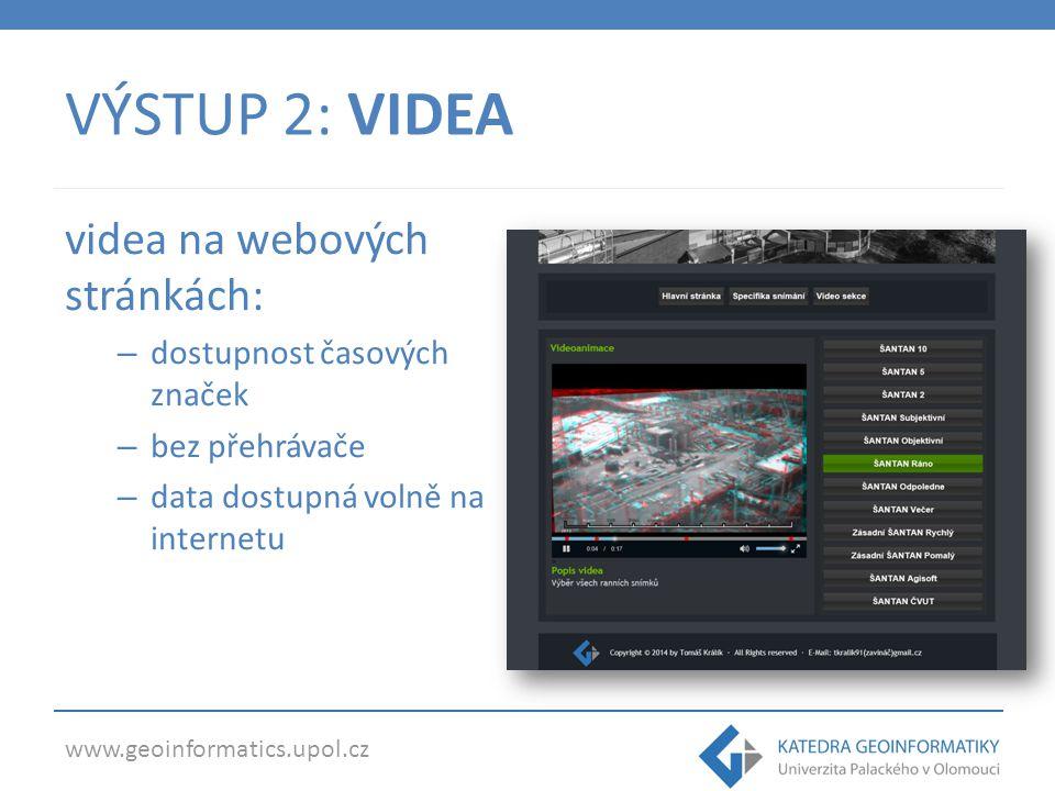 www.geoinformatics.upol.cz VÝSTUP 2: VIDEA videa na webových stránkách: – dostupnost časových značek – bez přehrávače – data dostupná volně na interne