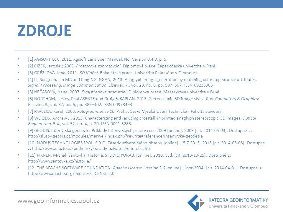 www.geoinformatics.upol.cz ZDROJE [1] AGISOFT LCC, 2011. Agisoft Lens User Manual. No. Version 0.4.0, p. 5. [2] ČÍŽEK, Jaroslav, 2005. Prostorové zobr