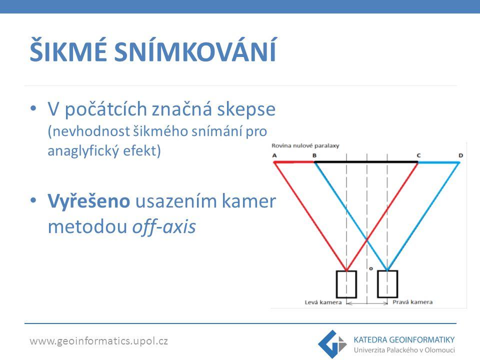 www.geoinformatics.upol.cz ŠIKMÉ SNÍMKOVÁNÍ V počátcích značná skepse (nevhodnost šikmého snímání pro anaglyfický efekt) Vyřešeno usazením kamer metod