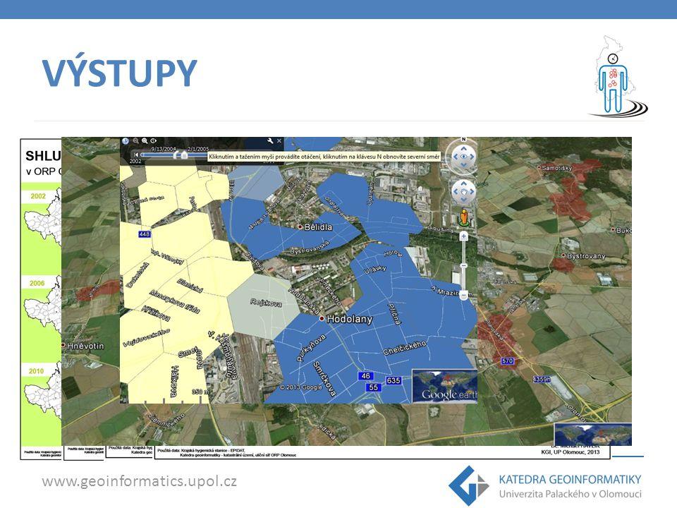 www.geoinformatics.upol.cz VÝSTUPY Tabulky Grafy Mapové výstupy KML soubory (Google Earth) – časové animace