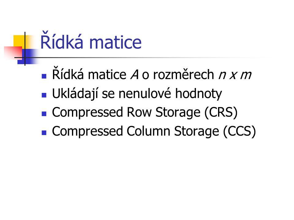Compressed Row Storage Matice je uložena po řádcích Tři pole: val – prvky matice col ind – indexy sloupců v řádku row ptr – indexy řádků (první nenulový prvek)