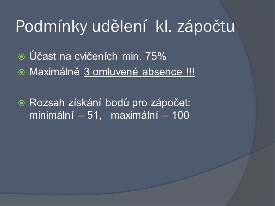 Podmínky udělení kl. zápočtu  Účast na cvičeních min. 75%  Maximálně 3 omluvené absence !!!  Rozsah získání bodů pro zápočet: minimální – 51, maxim