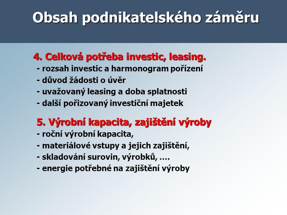 4. Celková potřeba investic, leasing. 4. Celková potřeba investic, leasing. - rozsah investic a harmonogram pořízení - důvod žádosti o úvěr - uvažovan