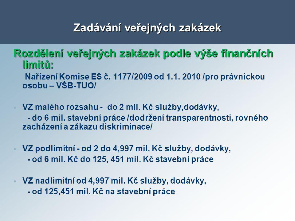 Rozdělení veřejných zakázek podle výše finančních limitů: Nařízení Komise ES č. 1177/2009 od 1.1. 2010 /pro právnickou osobu – VŠB-TUO/   VZ malého