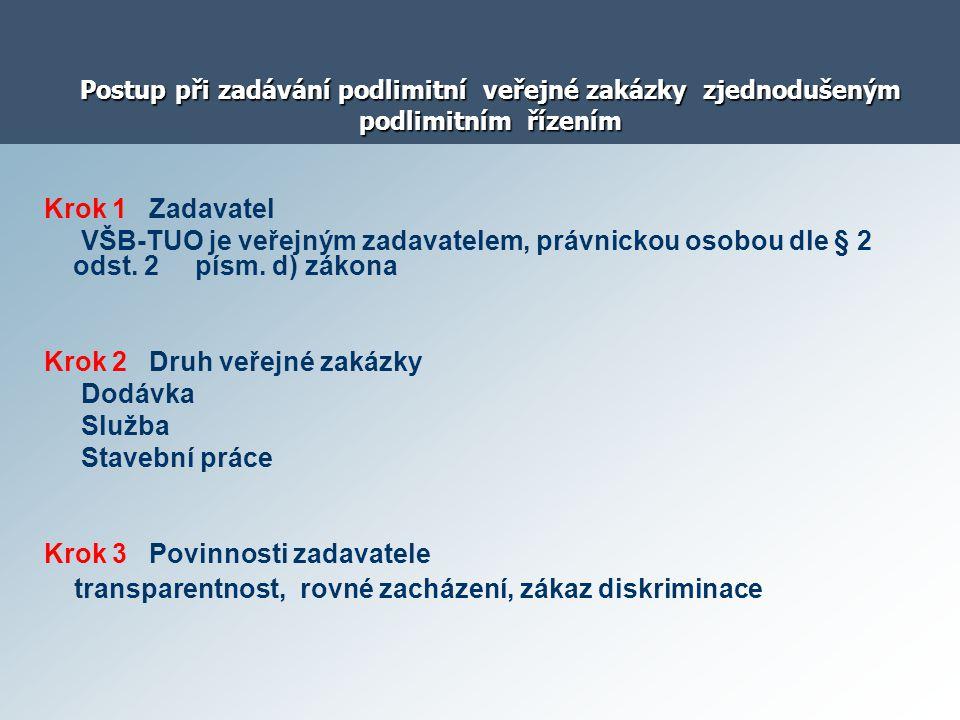 Postup při zadávání podlimitní veřejné zakázky zjednodušeným podlimitním řízením Krok 1 Zadavatel VŠB-TUO je veřejným zadavatelem, právnickou osobou d