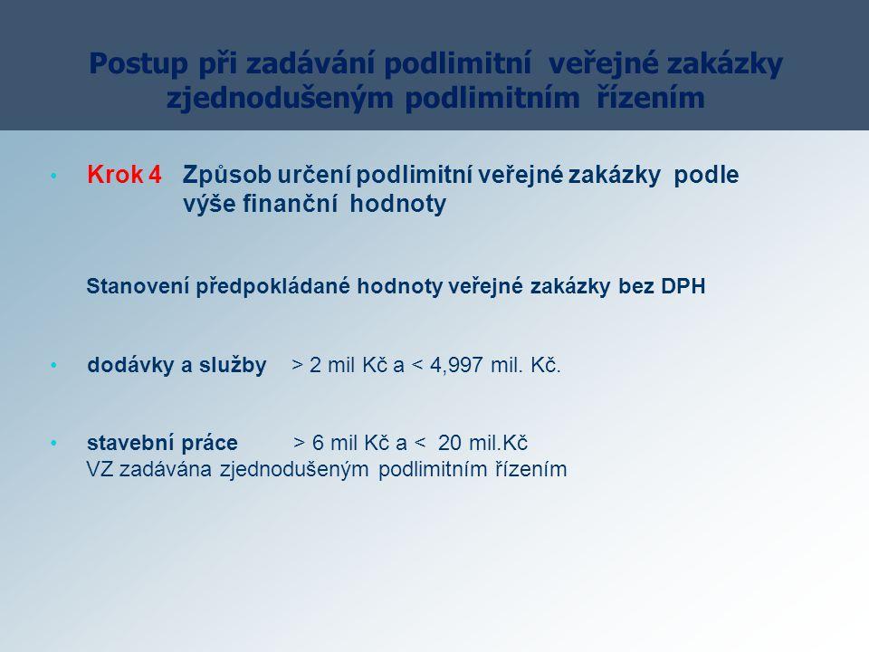 Postup při zadávání podlimitní veřejné zakázky zjednodušeným podlimitním řízením Krok 4 Způsob určení podlimitní veřejné zakázky podle výše finanční h