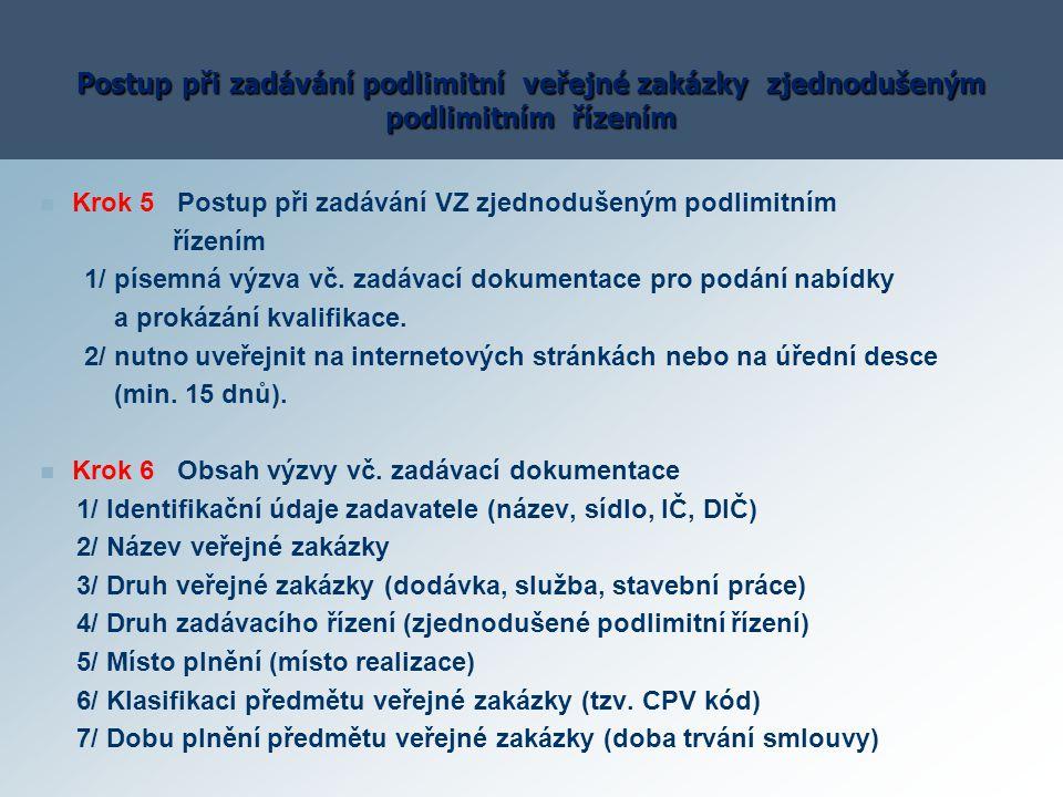 Postup při zadávání podlimitní veřejné zakázky zjednodušeným podlimitním řízením Krok 5 Postup při zadávání VZ zjednodušeným podlimitním řízením 1/ pí