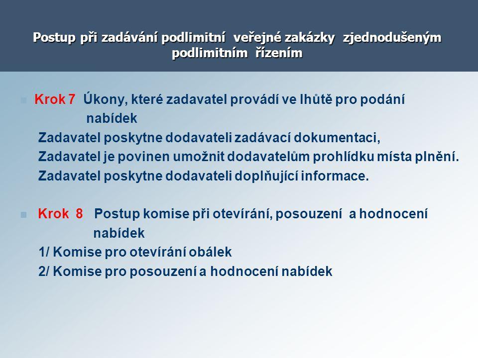 Postup při zadávání podlimitní veřejné zakázky zjednodušeným podlimitním řízením Krok 7 Úkony, které zadavatel provádí ve lhůtě pro podání nabídek Zad