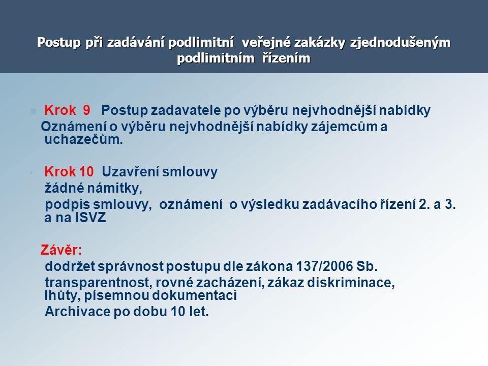 Postup při zadávání podlimitní veřejné zakázky zjednodušeným podlimitním řízením Krok 9 Postup zadavatele po výběru nejvhodnější nabídky Oznámení o vý
