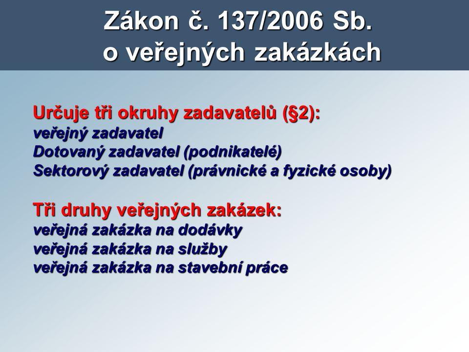 Zákon č. 137/2006 Sb. o veřejných zakázkách Určuje tři okruhy zadavatelů (§2): veřejný zadavatel Dotovaný zadavatel (podnikatelé) Sektorový zadavatel