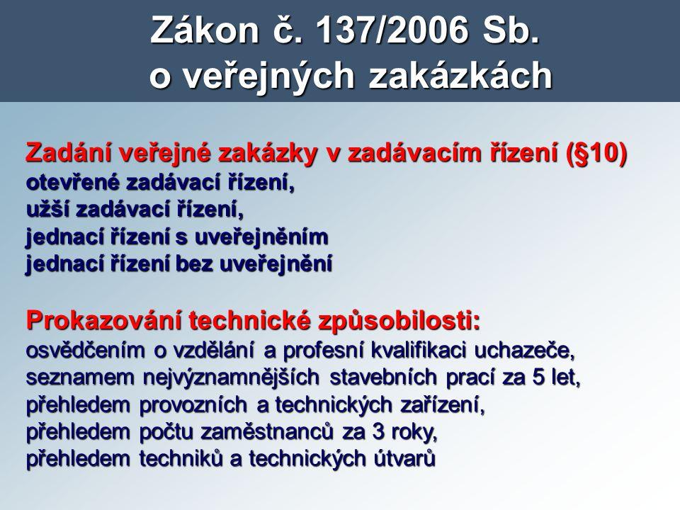 Zákon č. 137/2006 Sb. o veřejných zakázkách Zadání veřejné zakázky v zadávacím řízení (§10) otevřené zadávací řízení, užší zadávací řízení, jednací ří