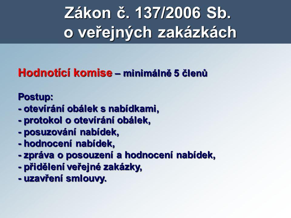 Zákon č. 137/2006 Sb. o veřejných zakázkách Hodnotící komise – minimálně 5 členů Postup: - otevírání obálek s nabídkami, - protokol o otevírání obálek