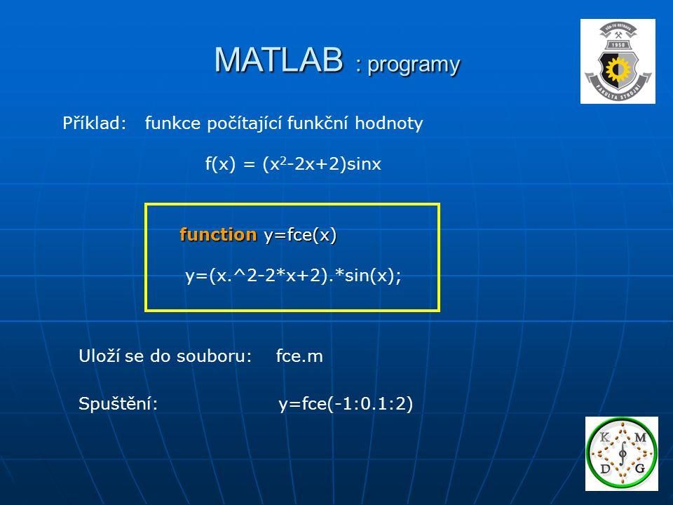 MATLAB : programy Příklad: funkce počítající funkční hodnoty f(x) = (x 2 -2x+2)sinx function y=fce(x) y=(x.^2-2*x+2).*sin(x); Uloží se do souboru: fce.m Spuštění: y=fce(-1:0.1:2)