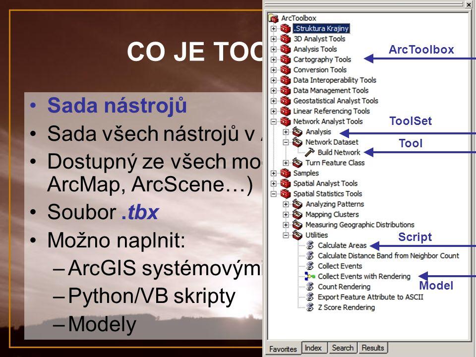 CO JE TOOLBOX? Sada nástrojů Sada všech nástrojů v ArcGIS 9.x Dostupný ze všech modulů (ArcCatalog, ArcMap, ArcScene…) Soubor.tbx Možno naplnit: –ArcG
