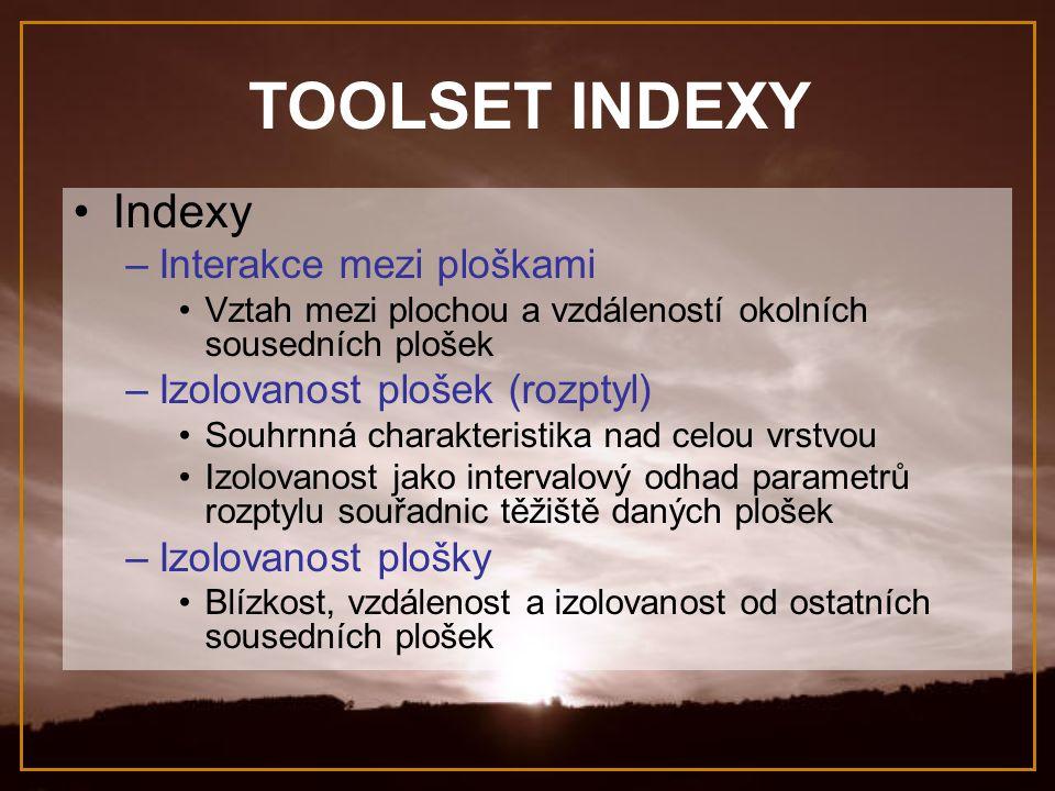 TOOLSET INDEXY Indexy –Interakce mezi ploškami Vztah mezi plochou a vzdáleností okolních sousedních plošek –Izolovanost plošek (rozptyl) Souhrnná char