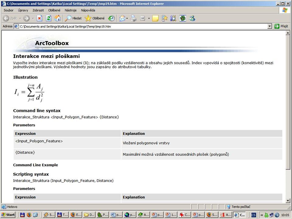 HELP Každý nástroj vlastní rozbalovací Help: –Obecně popisující informace –Nápověda (popř. tipy) pro každý vkládaný parametr V češtině Vstupní paramet
