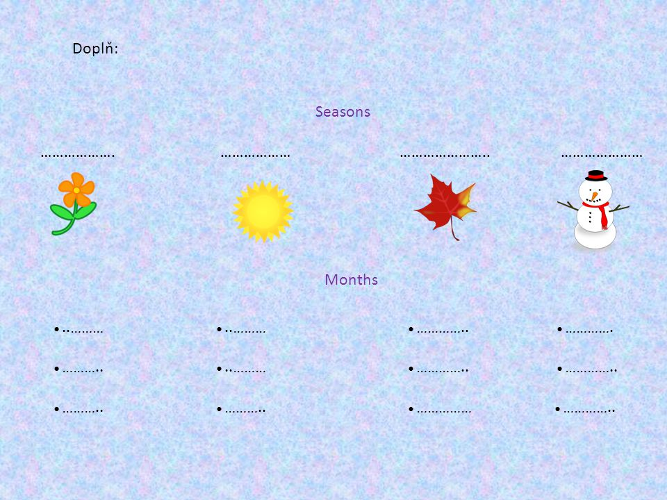 Seasons ………………. ……………… ………………….. ………………… Doplň: Months ●..……… ●..……… ●…………..