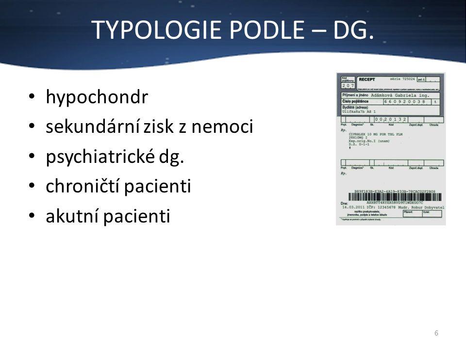 TYPOLOGIE PODLE – DG. 6 hypochondr sekundární zisk z nemoci psychiatrické dg. chroničtí pacienti akutní pacienti