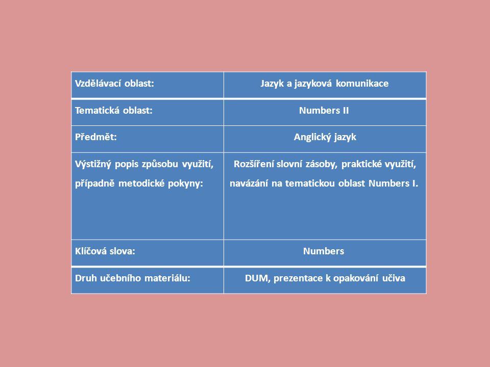 Vzdělávací oblast:Jazyk a jazyková komunikace Tematická oblast:Numbers II Předmět:Anglický jazyk Výstižný popis způsobu využití, případně metodické pokyny: Rozšíření slovní zásoby, praktické využití, navázání na tematickou oblast Numbers I.