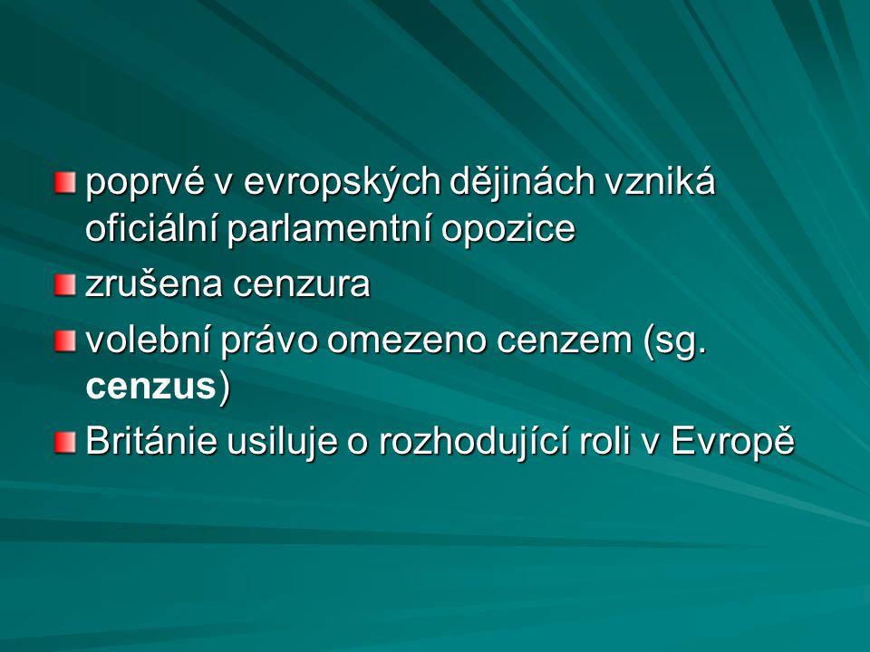 poprvé v evropských dějinách vzniká oficiální parlamentní opozice zrušena cenzura volební právo omezeno cenzem (sg. ) volební právo omezeno cenzem (sg