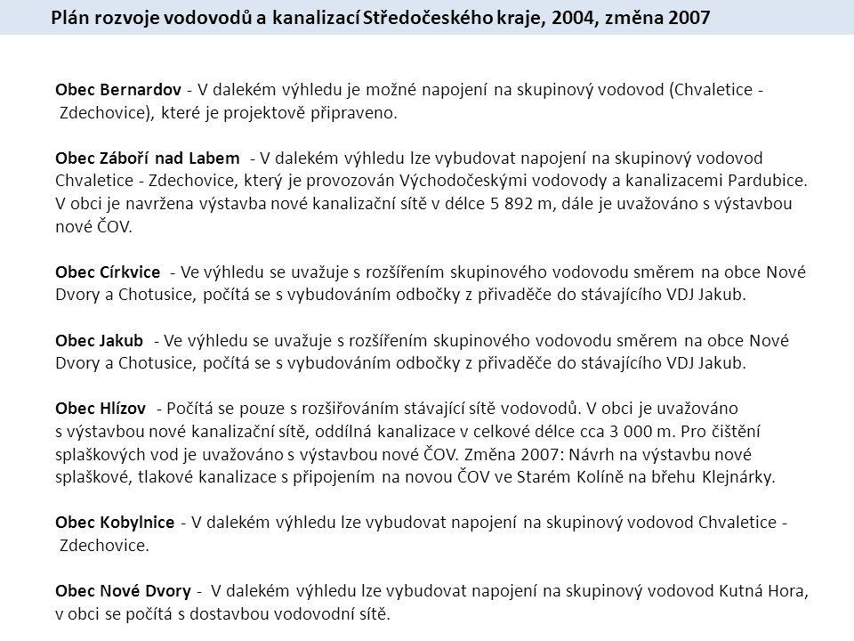 Plán rozvoje vodovodů a kanalizací Středočeského kraje, 2004, změna 2007 Obec Bernardov - V dalekém výhledu je možné napojení na skupinový vodovod (Chvaletice - Zdechovice), které je projektově připraveno.