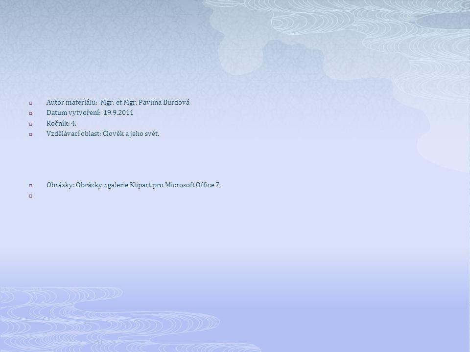  Autor materiálu: Mgr. et Mgr. Pavlína Burdová  Datum vytvoření: 19.9.2011  Ročník: 4.  Vzdělávací oblast: Člověk a jeho svět.  Obrázky: Obrázky