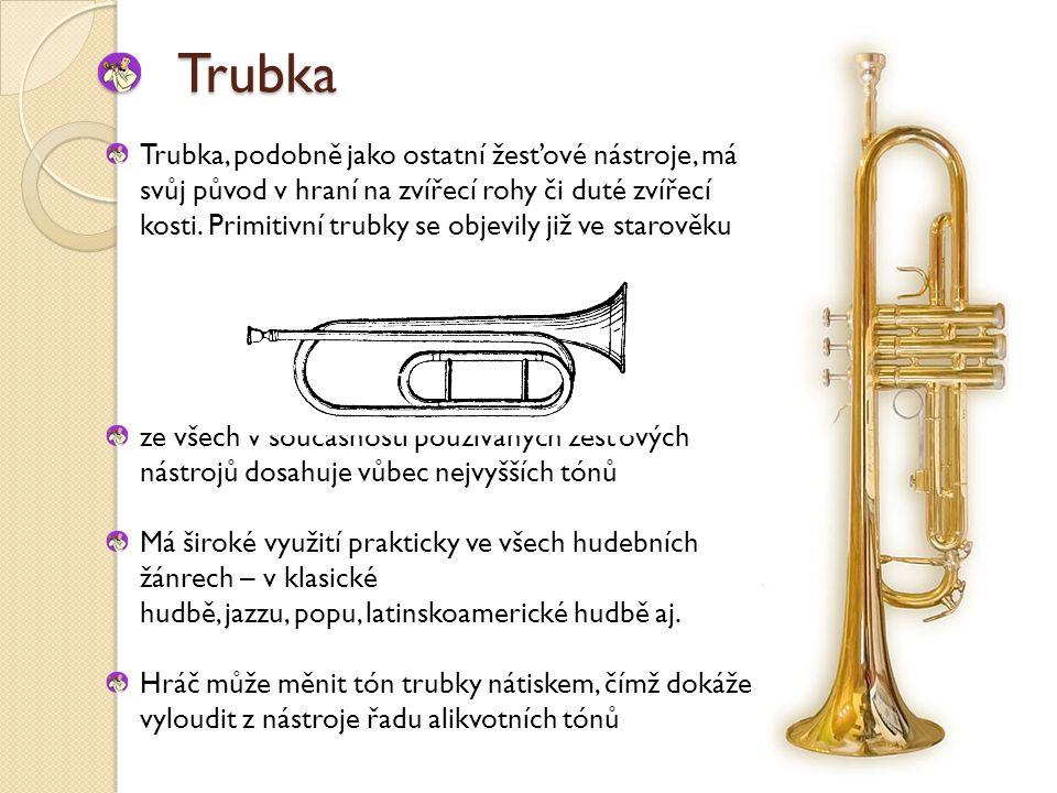 Trubka Trubka, podobně jako ostatní žesťové nástroje, má svůj původ v hraní na zvířecí rohy či duté zvířecí kosti.