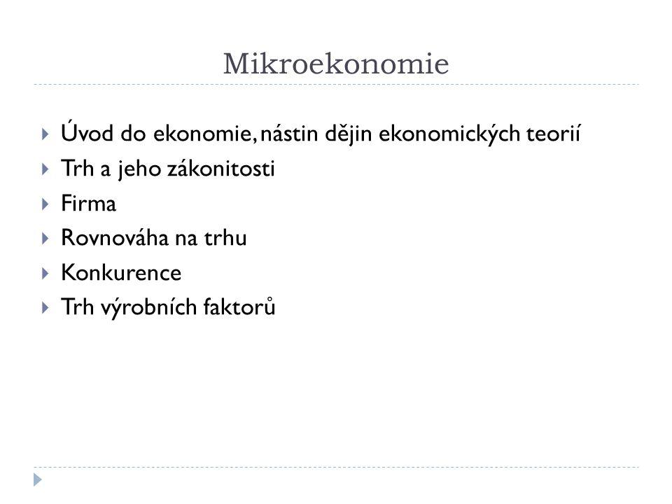 Mikroekonomie  Úvod do ekonomie, nástin dějin ekonomických teorií  Trh a jeho zákonitosti  Firma  Rovnováha na trhu  Konkurence  Trh výrobních f