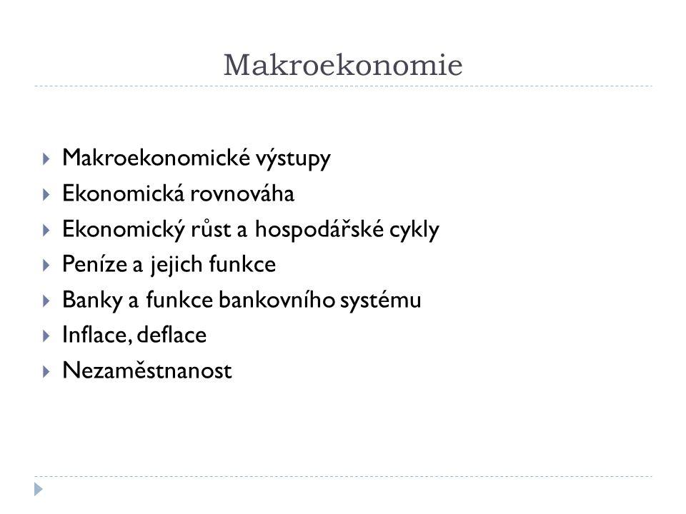 Makroekonomie  Makroekonomické výstupy  Ekonomická rovnováha  Ekonomický růst a hospodářské cykly  Peníze a jejich funkce  Banky a funkce bankovn