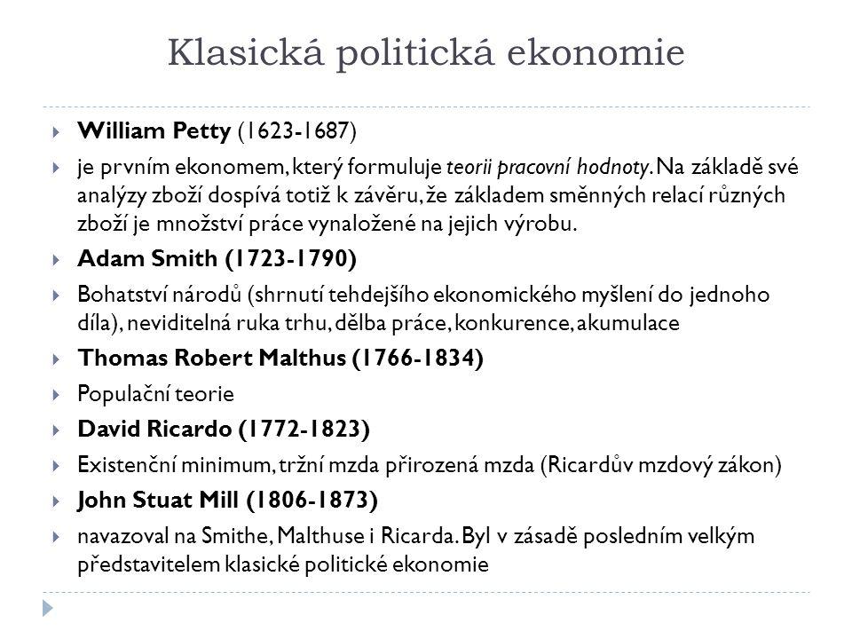 Klasická politická ekonomie  William Petty (1623-1687)  je prvním ekonomem, který formuluje teorii pracovní hodnoty. Na základě své analýzy zboží do