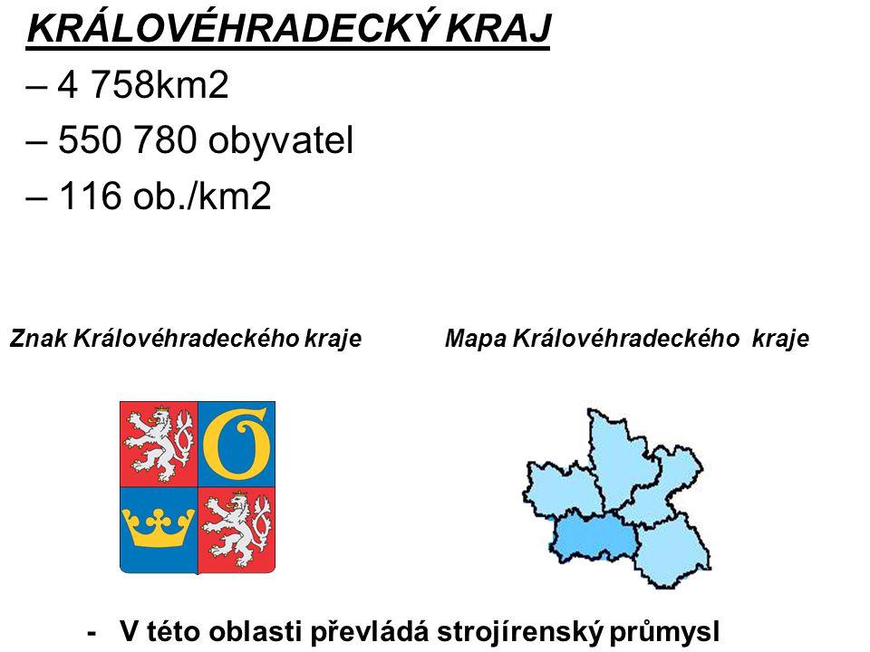 KRÁLOVÉHRADECKÝ KRAJ – 4 758km2 – 550 780 obyvatel – 116 ob./km2 Znak Královéhradeckého krajeMapa Královéhradeckého kraje - V této oblasti převládá st