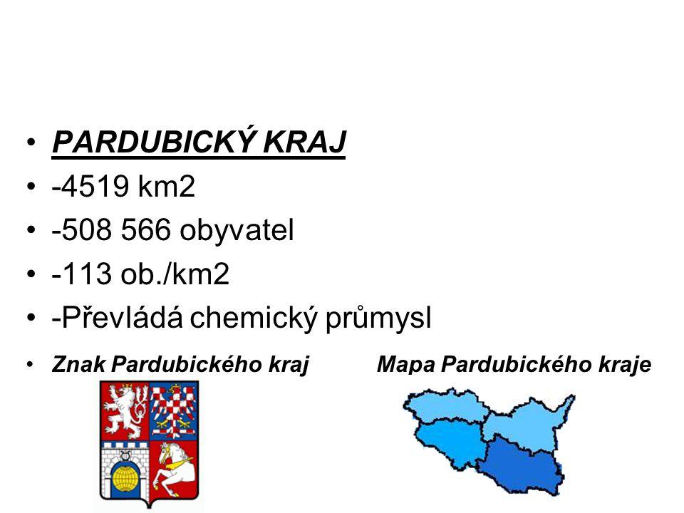 PARDUBICKÝ KRAJ -4519 km2 -508 566 obyvatel -113 ob./km2 -Převládá chemický průmysl Znak Pardubického kraj Mapa Pardubického kraje