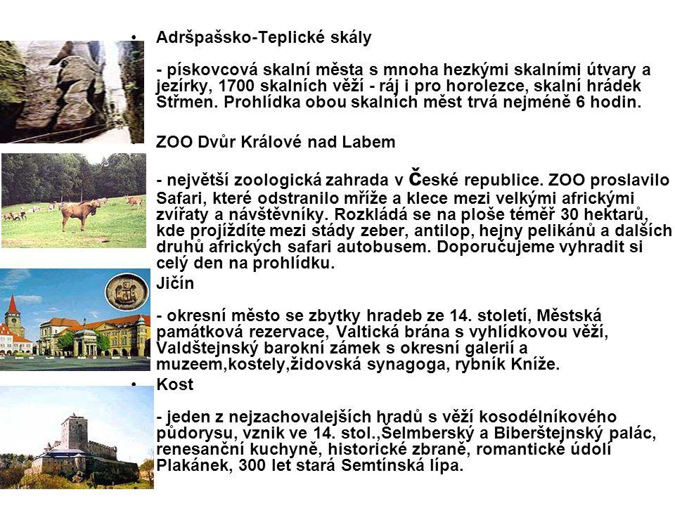 Liberecký kraj Prachovské skály - rezervace, pískovcové skalní město, hluboké rokle,vyhlídky do kraje, horolezecký ráj, skalní hrádek Pařez, Pelíškovo koupaliště.