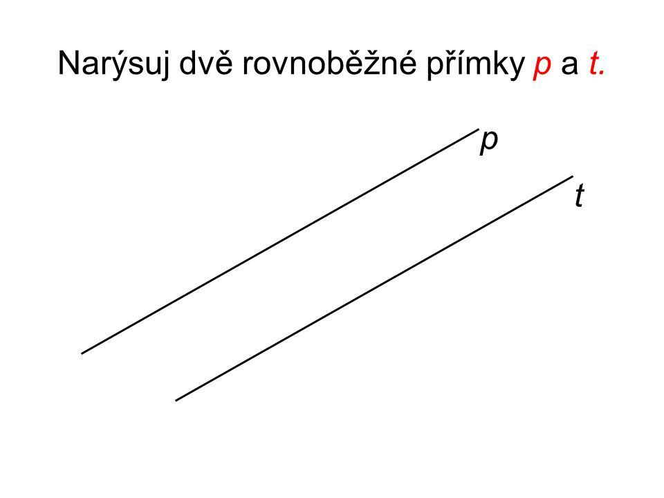 Narýsuj dvě rovnoběžné přímky p a t. p t