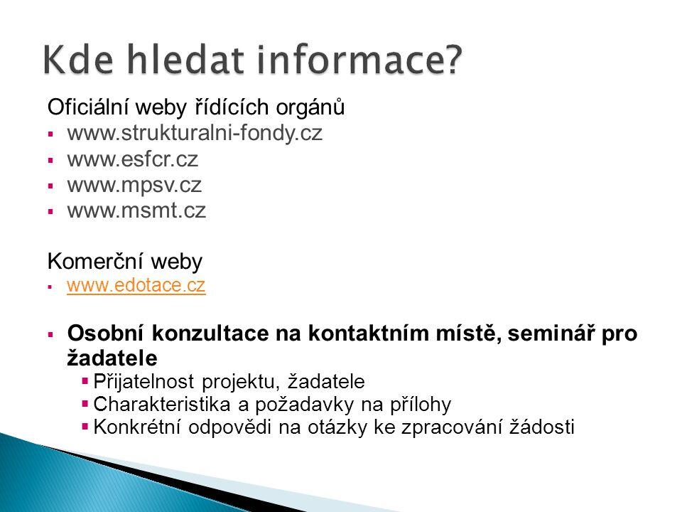 Oficiální weby řídících orgánů  www.strukturalni-fondy.cz  www.esfcr.cz  www.mpsv.cz  www.msmt.cz Komerční weby  www.edotace.cz www.edotace.cz 