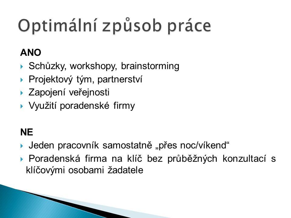 ANO  Schůzky, workshopy, brainstorming  Projektový tým, partnerství  Zapojení veřejnosti  Využití poradenské firmy NE  Jeden pracovník samostatně