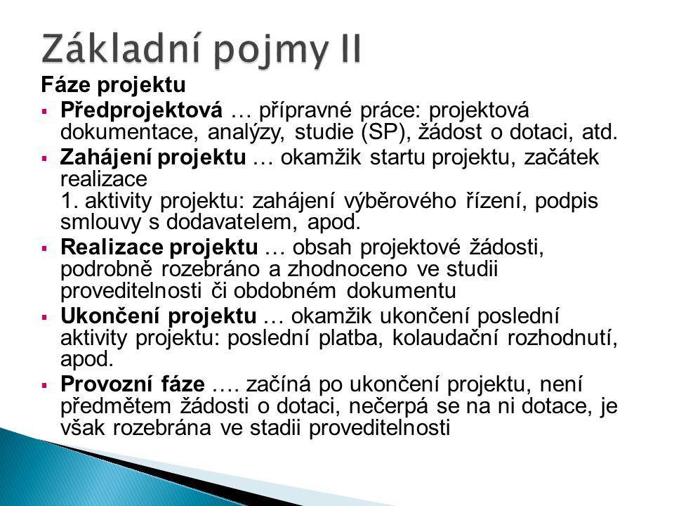Fáze projektu  Předprojektová … přípravné práce: projektová dokumentace, analýzy, studie (SP), žádost o dotaci, atd.  Zahájení projektu … okamžik st
