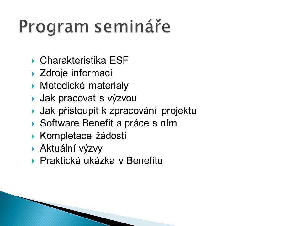  Charakteristika ESF  Zdroje informací  Metodické materiály  Jak pracovat s výzvou  Jak přistoupit k zpracování projektu  Software Benefit a prá