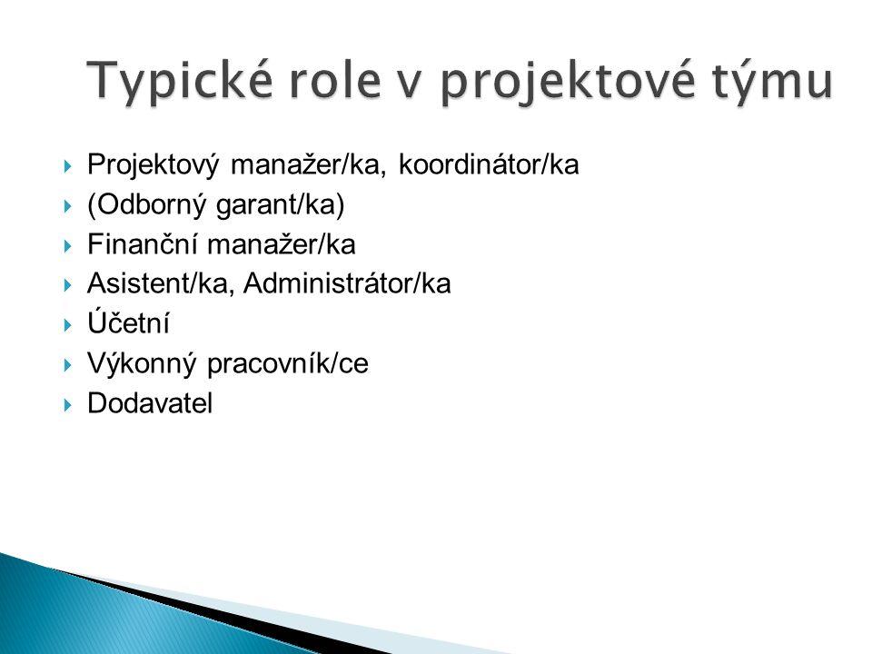  Projektový manažer/ka, koordinátor/ka  (Odborný garant/ka)  Finanční manažer/ka  Asistent/ka, Administrátor/ka  Účetní  Výkonný pracovník/ce 