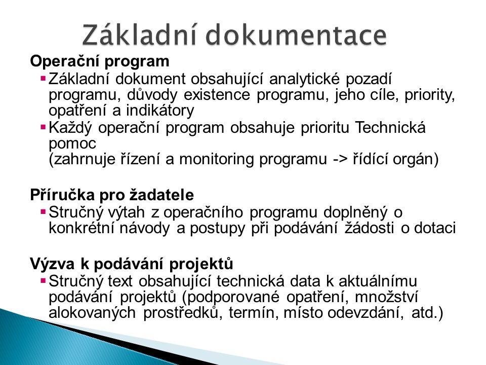 Operační program  Základní dokument obsahující analytické pozadí programu, důvody existence programu, jeho cíle, priority, opatření a indikátory  Ka