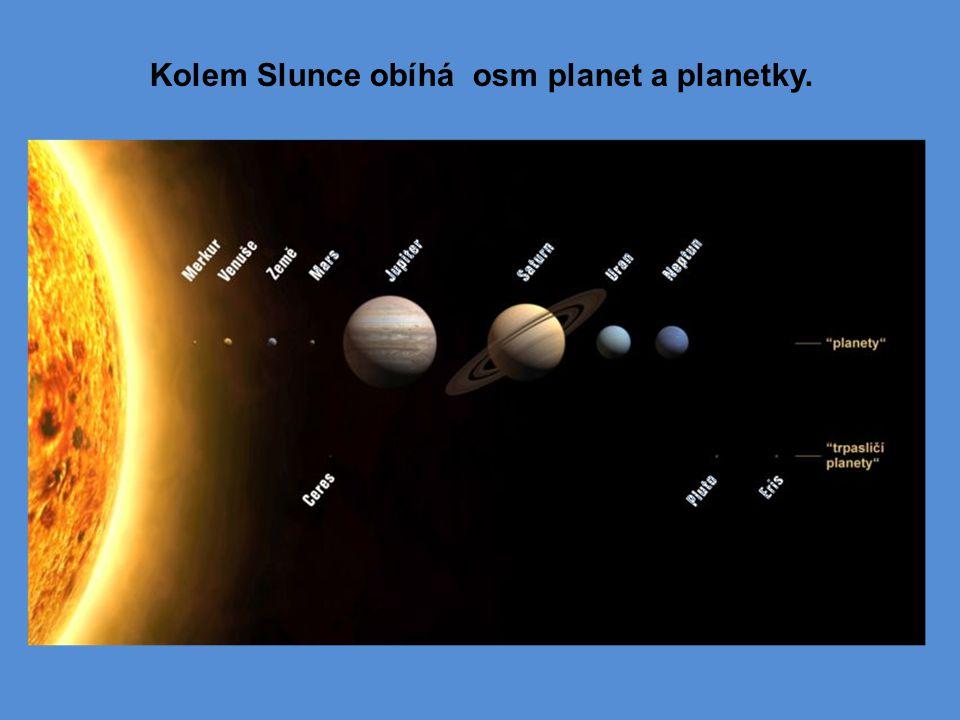 Kolem Slunce obíhá osm planet a planetky.