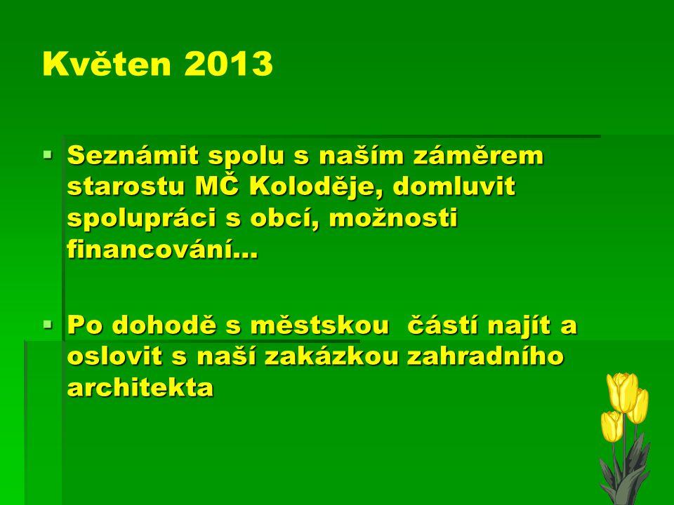 Duben 2013 - 2. schůzka Na této schůzce bychom měli : 1/společně zpracovat konečný plán vzhledu zahrady podle našich představ a posléze společně s dět