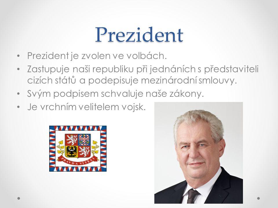 Prezident Prezident je zvolen ve volbách.