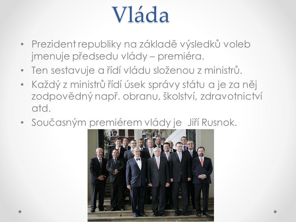 Vláda Prezident republiky na základě výsledků voleb jmenuje předsedu vlády – premiéra.