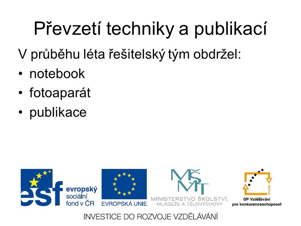 Převzetí techniky a publikací V průběhu léta řešitelský tým obdržel: notebook fotoaparát publikace