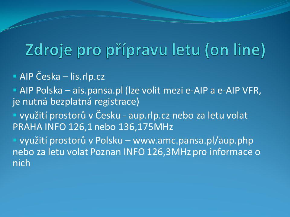  AIP Česka – lis.rlp.cz  AIP Polska – ais.pansa.pl (lze volit mezi e-AIP a e-AIP VFR, je nutná bezplatná registrace)  využití prostorů v Česku - au