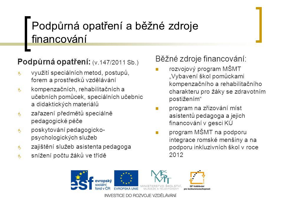 Podpůrná opatření a běžné zdroje financování Podpůrná opatření: (v.147/2011 Sb.)  využití speciálních metod, postupů, forem a prostředků vzdělávání 