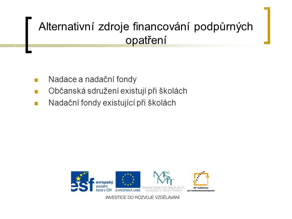 Alternativní zdroje financování podpůrných opatření Nadace a nadační fondy Občanská sdružení existují při školách Nadační fondy existující při školách
